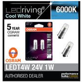 Osram 24V LED 6000K Cool White T4W (249) 12V 1W Led Bulbs Long Life 3924CW-02B