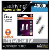 Osram 24V LED 6000K Warm White T4W (249) 12V 1W Led Bulbs Long Life 3924WW-02B