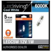 Osram LED 6000K Cool White C5W 239 38mm 1W Led Festoon Interior Bulb 6498CW-01B