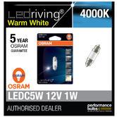 Osram LED 4000K Warm White C5W 239 38mm 1W Led Festoon Interior Bulb 6498WW-01B