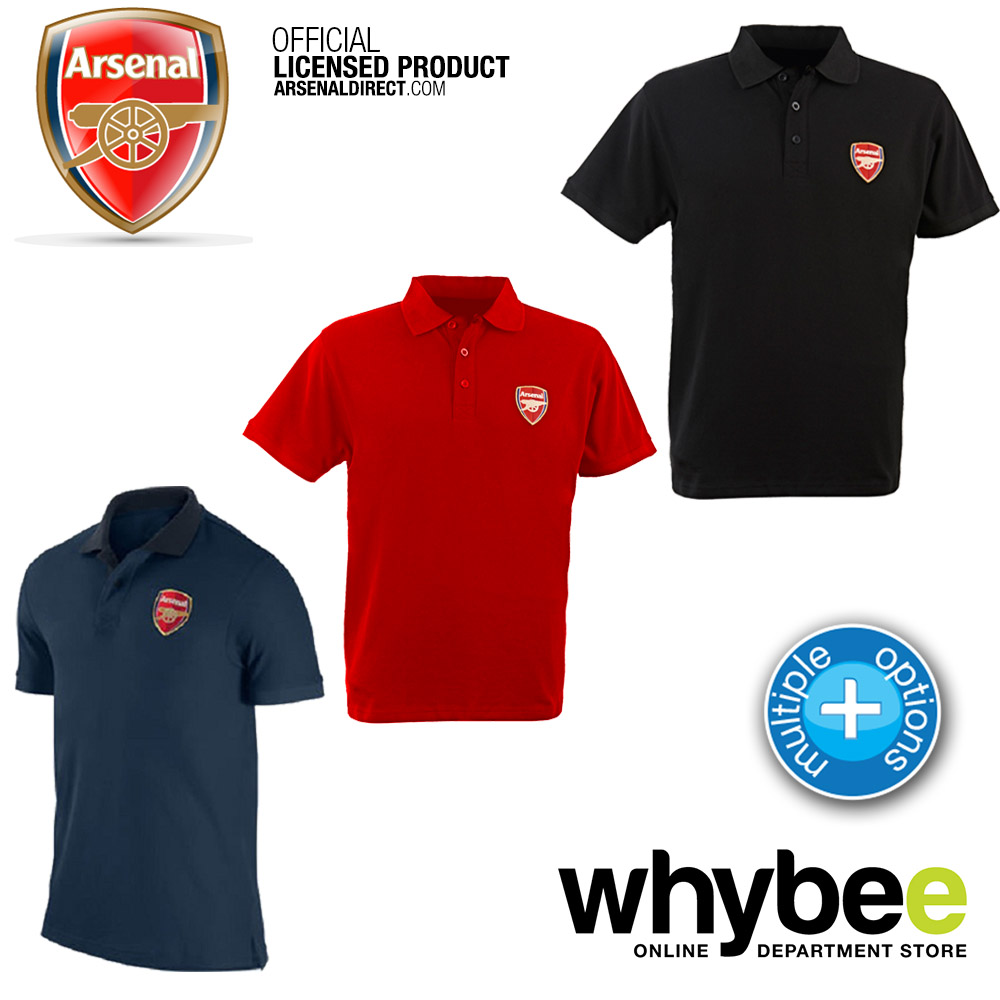 official arsenal fc crest adult polo shirt navy blue red black all sizes bra ebay. Black Bedroom Furniture Sets. Home Design Ideas