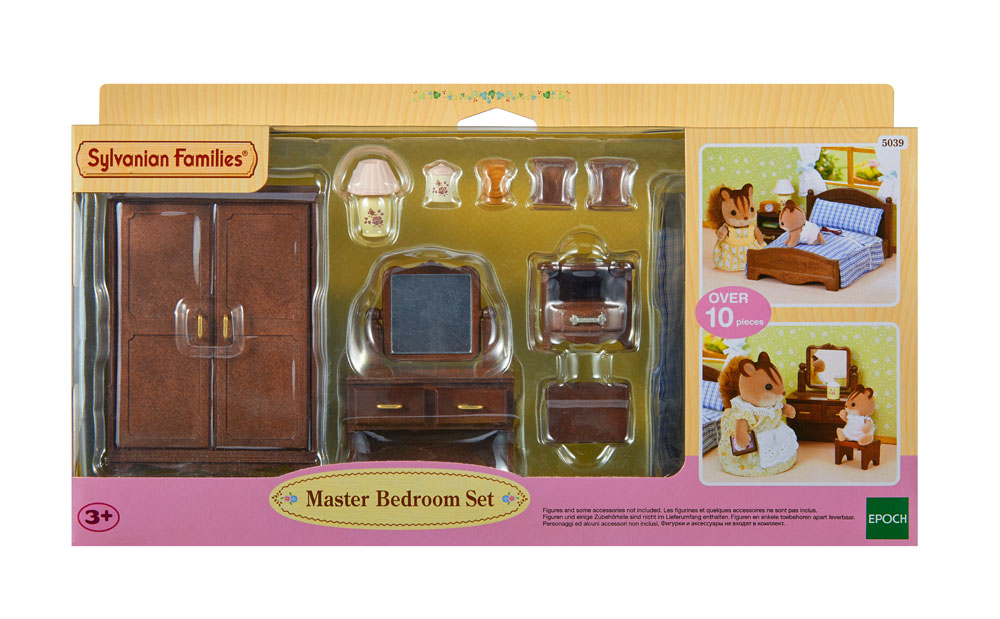 Sylvanian families room set 5039 master bedroom set 3 ebay for Sylvanian classic furniture set