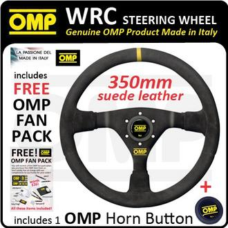 View Item OD/1979/N OMP WRC STEERING WHEEL MID-DEPTH 350mm BLACK SUEDE LEATHER GENUINE OMP