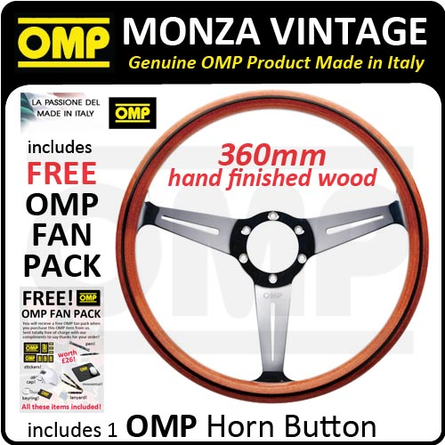 OD/2022/MO OMP MONZA WOODEN HAND-MADE STEERING WHEEL CLASSIC CAR RETRO VINTAGE