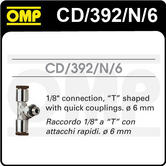 "CD/392/N/6 OMP PLATINUM FIRE EXTINGUISHER 6mm CONNECTION PIECE 1/8"" T SHAPE"