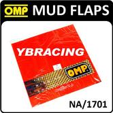 NA/1701 OMP RACING RALLY MUD FLAPS RED DIAPRENE SLASH GUARDS 50x30cm 2mm THICK