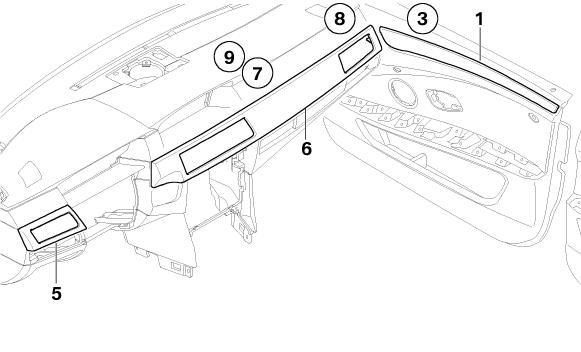 bmw genuine interior door trim strip front right e60  e61 5