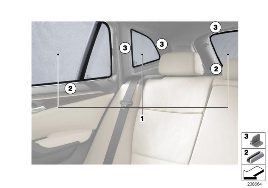 Bmw genuine car rear side door window sun blind screen for Back door with window and screen