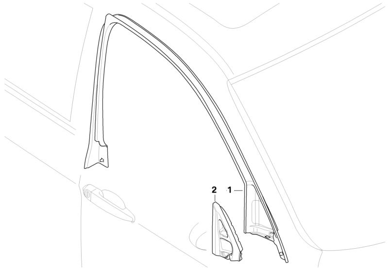 Bmw Genuine Front Right Door Window Frame Top Trim