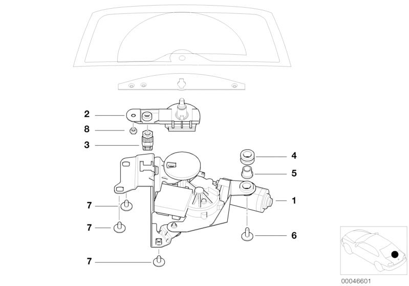 bmw genuine rear wiper shaft pivot e46 touring 61628220831