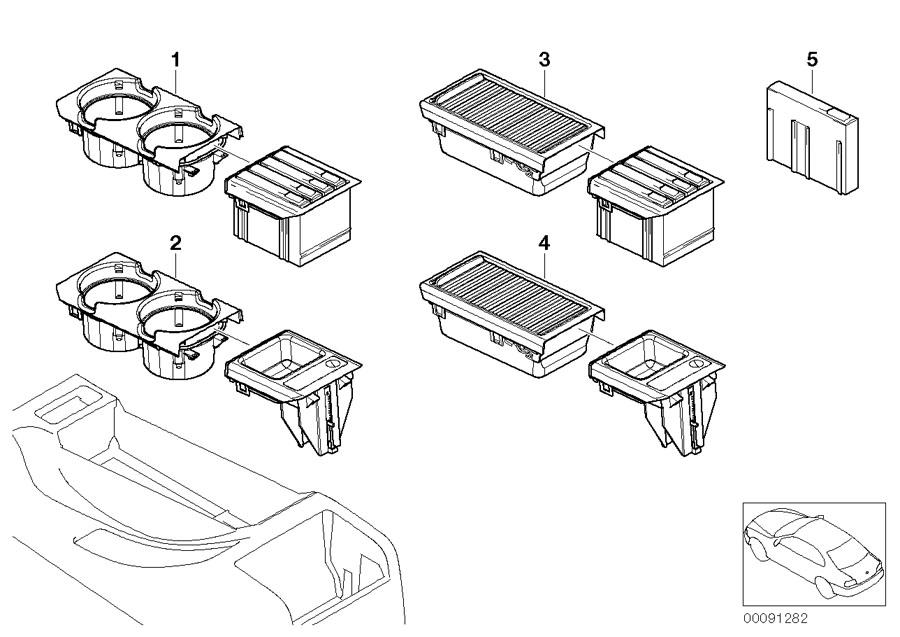 Bmw Centre Armrest Tray Storage Roller Cover Black E46 3