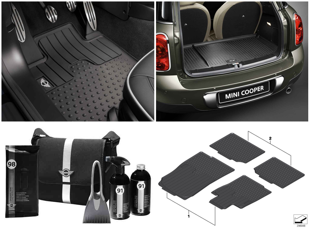 Mini cooper rubber floor mats uk - Mini Genuine R60 Winter Pack All Weather Floor And Luggage Mats Winter Kit
