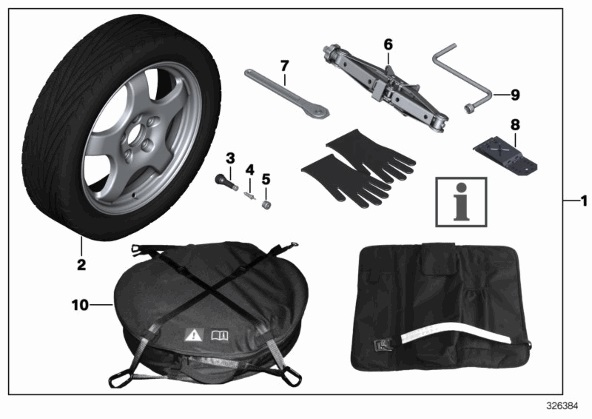 Bmw Genuine Emergency Spare Wheel Bag Pouch Storage