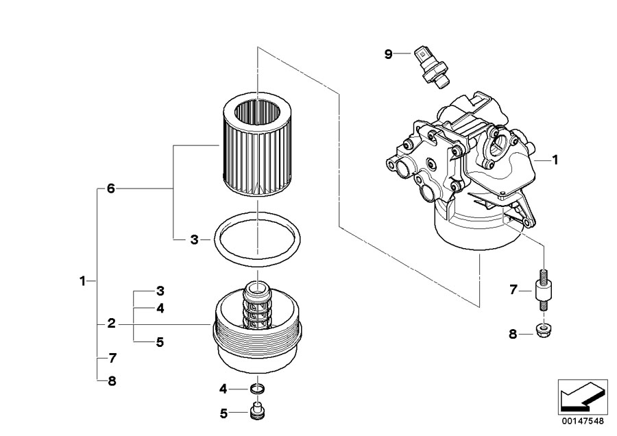 bmw genuine set oil filter element e60  e61  e63  e64 5  6
