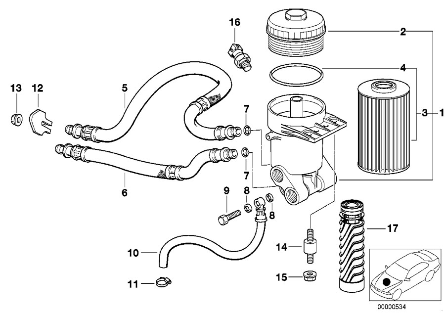 bmw genuine set oil filter element e39  e39  e52  e53 5  7
