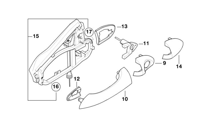 BMW Genuine Front Right Door Exterior Handle Carrier E53 X5 51218243616