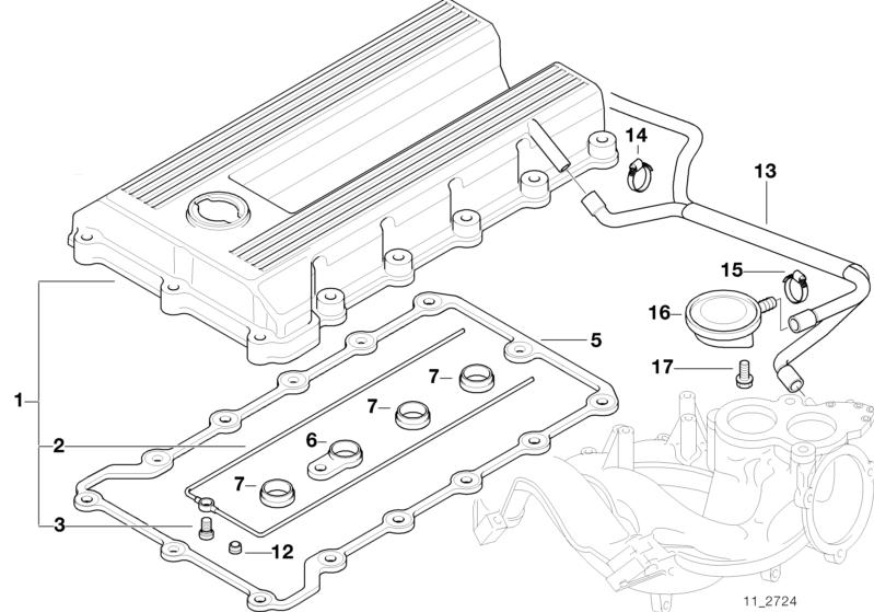 bmw genuine cooling system vent hose e36 3 series 11151247903