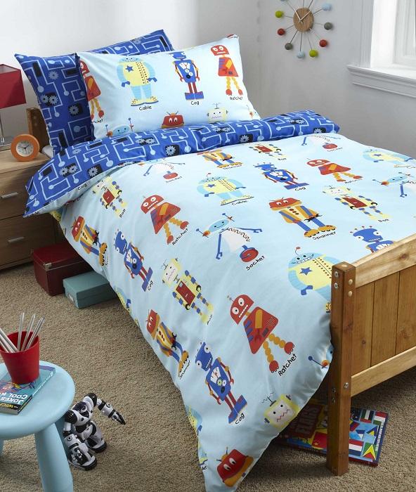 Kids boys girls reversible single duvet quilt cover for Robot bedroom