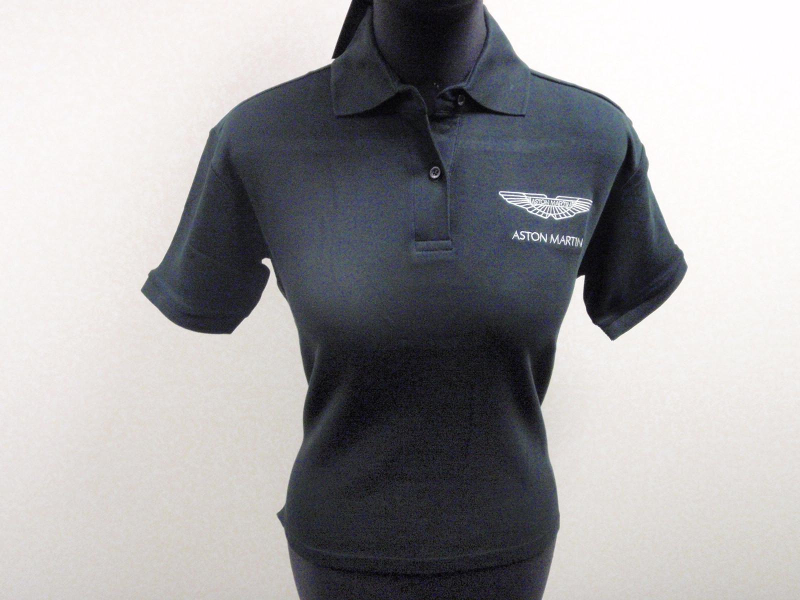 Aston Martin Lagonda Ladies Black Polo Shirt T Shirt w Silver Logo BNWT s M L