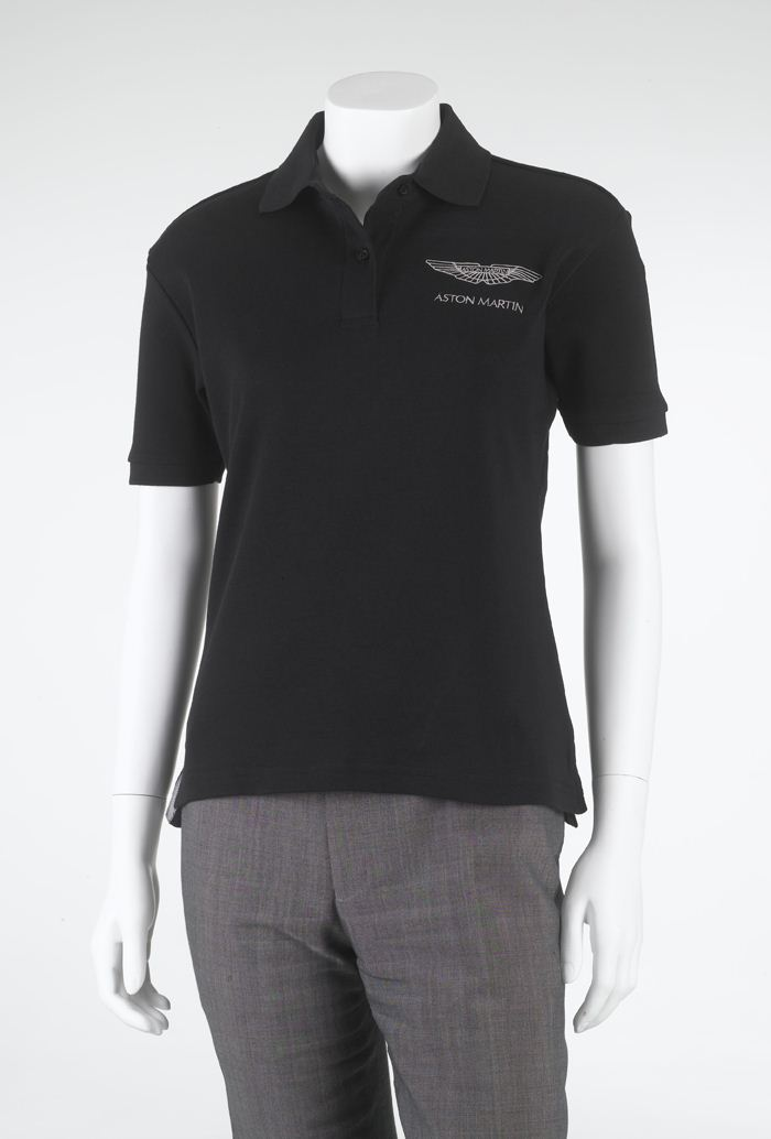 aston martin lagonda ladies black polo shirt t shirt w silver logo bnwt s m l ebay. Black Bedroom Furniture Sets. Home Design Ideas