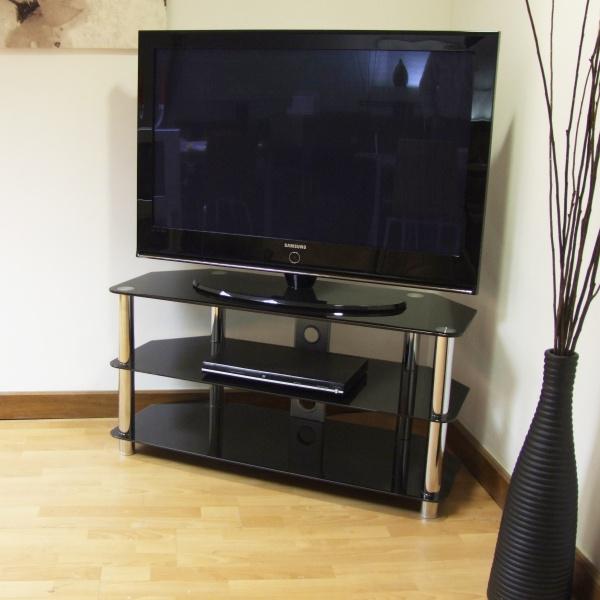 black glass and metal tv stand. Black Bedroom Furniture Sets. Home Design Ideas