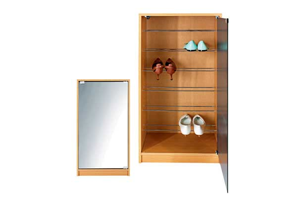 New Shoe Storage Cabinet Tidy Rack with Mirror Door Stores 14 Pairs Enlarged Preview