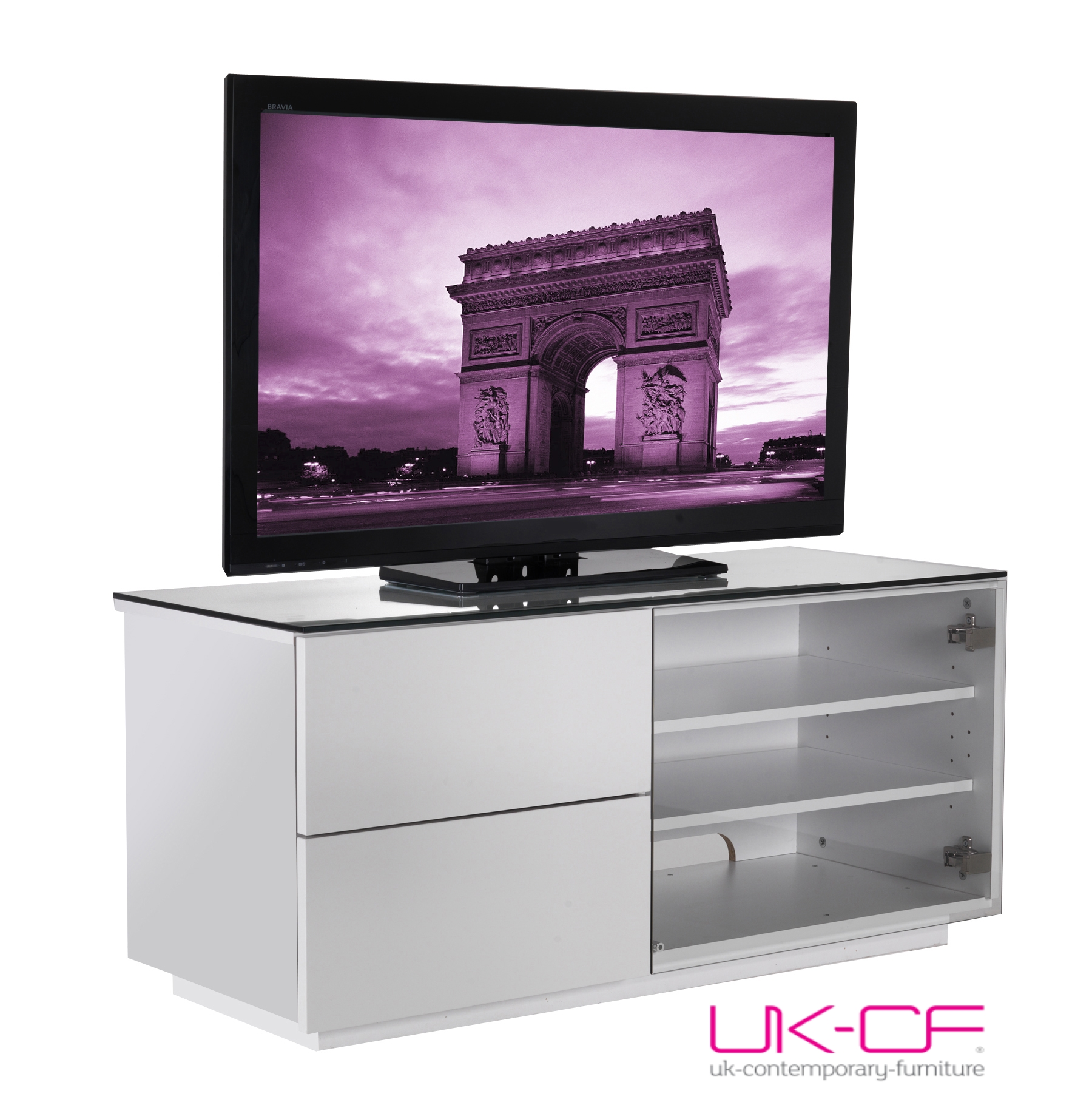 Ukcf brand white gloss 2 drawer lcd plasma tv cabinet for White plasma tv stands