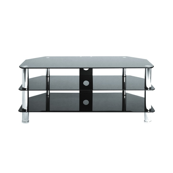 metal black glass 3 shelf corner tv stand shelves 40 inch. Black Bedroom Furniture Sets. Home Design Ideas