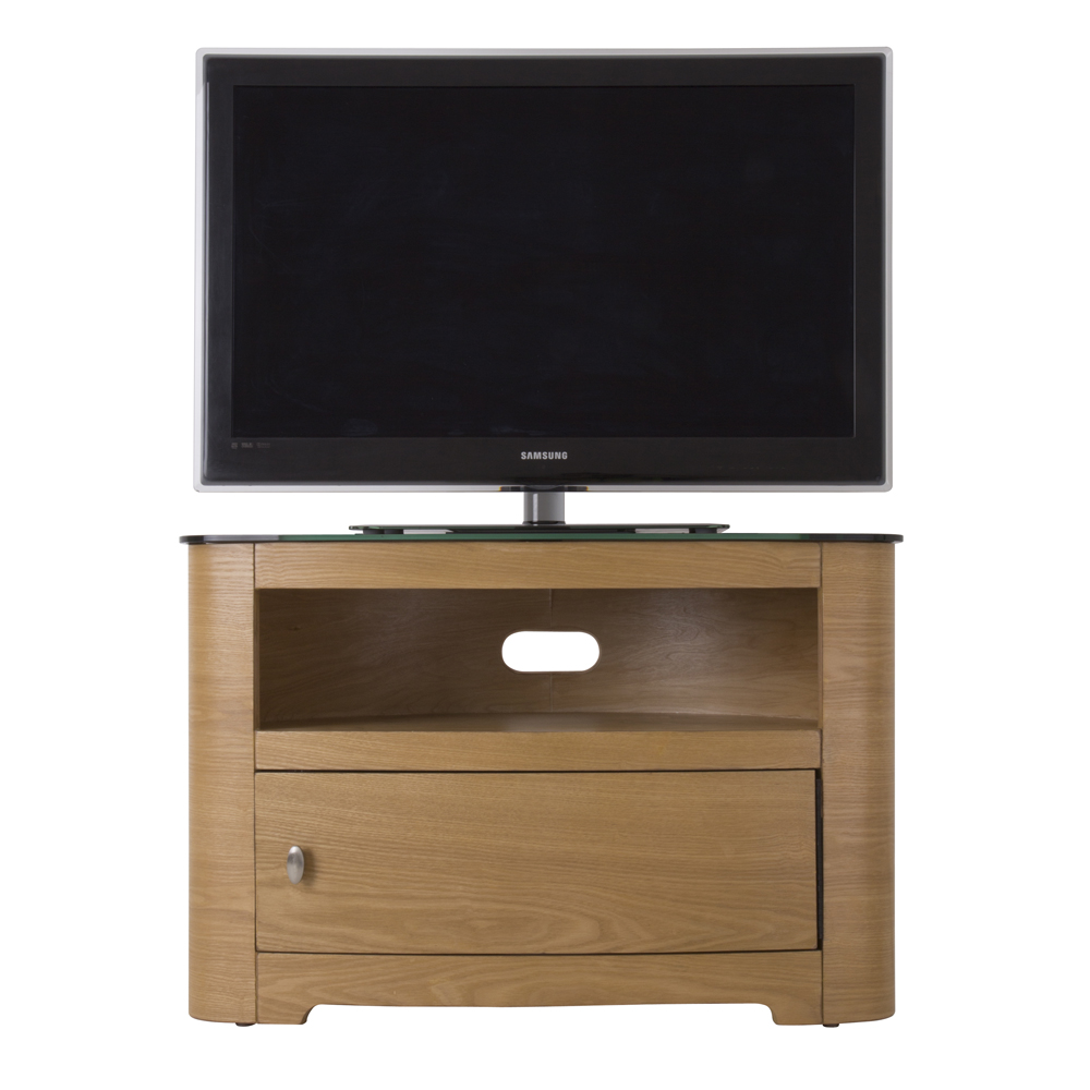 Oak Veneer Oval Black Glass Top TV Cabinet LCD Plasma Stand 3242 Inch Screens -> Glass Tv Sideboard