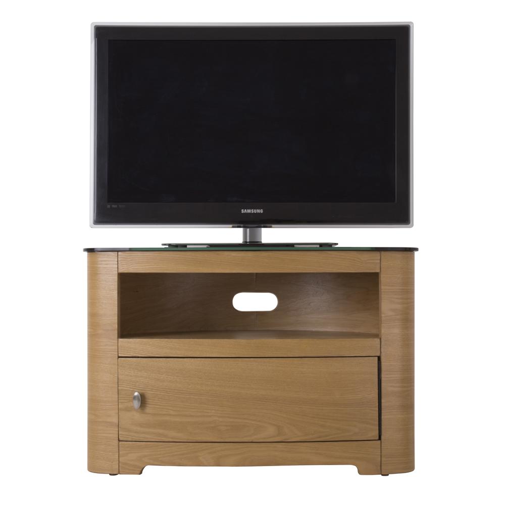 Oak Veneer Oval Black Glass Top TV Cabinet LCD Plasma Stand 3242 Inch Screens # Glass Tv Sideboard