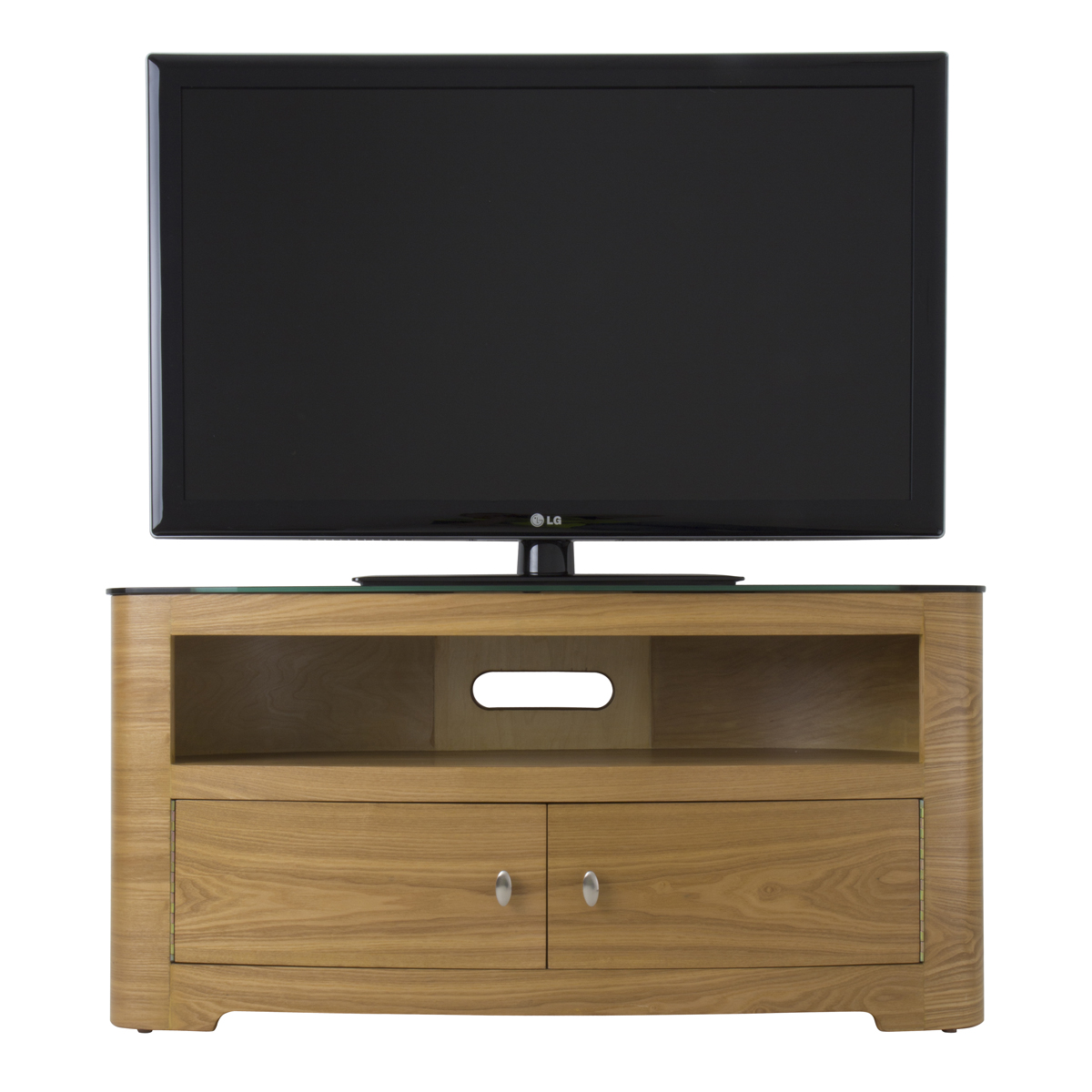large oak veneer oval lcd plasma tv stand cabinet 42 inch. Black Bedroom Furniture Sets. Home Design Ideas
