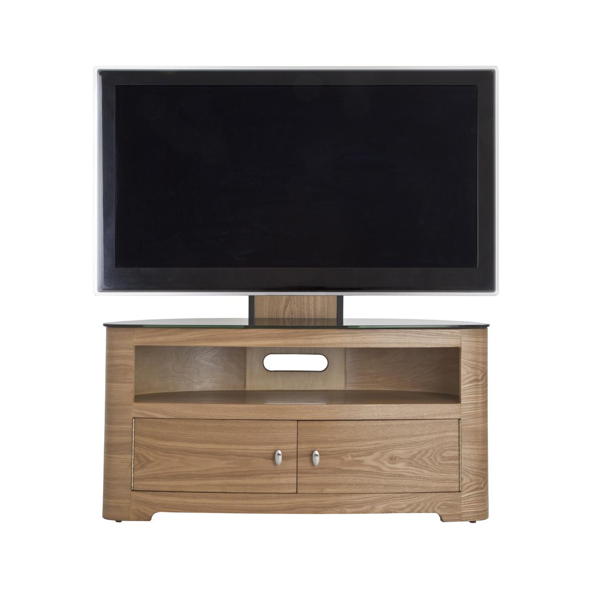 large oak veneer oval lcd plasma tv stand cabinet 42 inch screens ebay. Black Bedroom Furniture Sets. Home Design Ideas