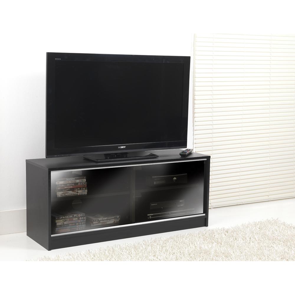 Black Double Sliding Door Lcd Plasma Tv Cabinet Stand