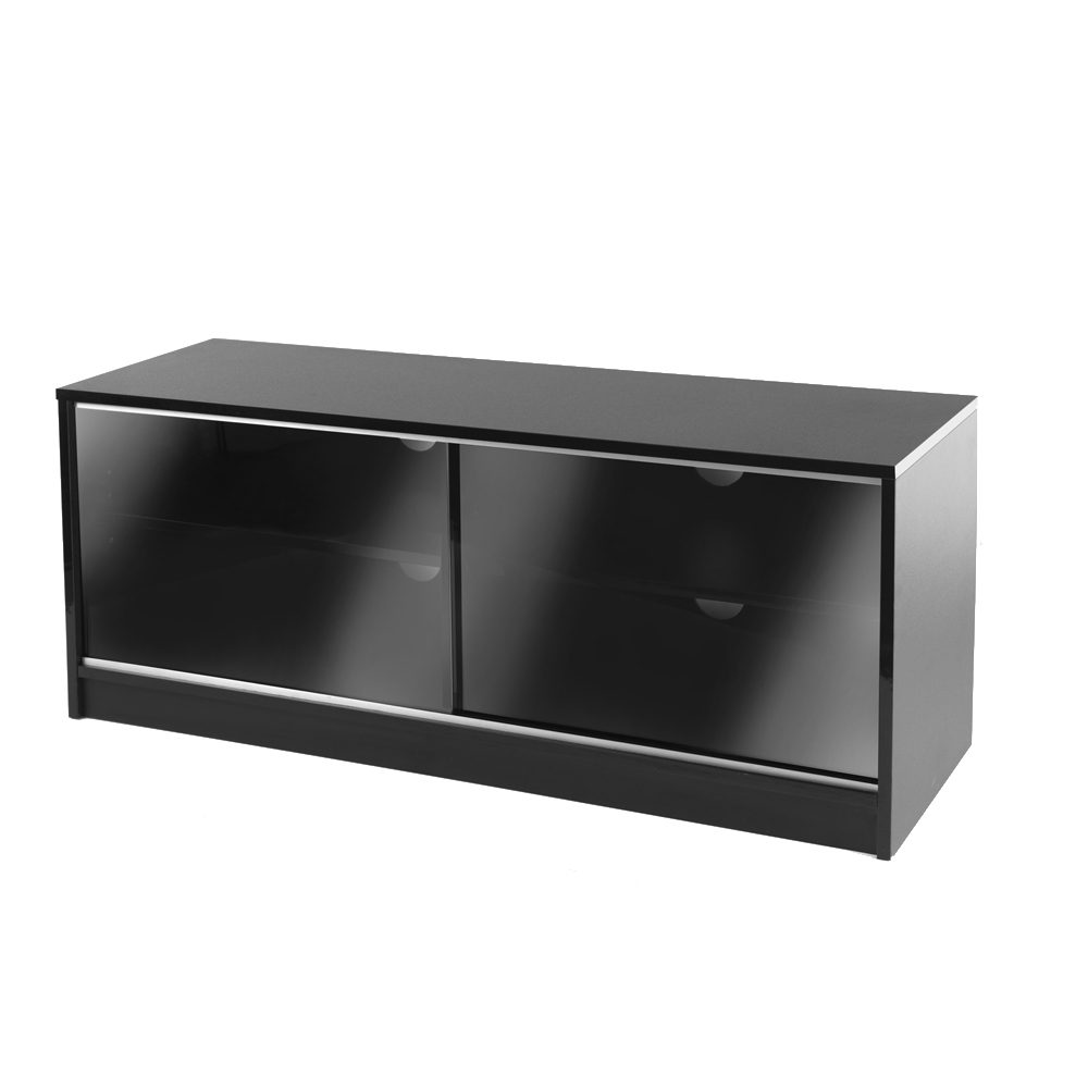 Black Double Sliding Door LCD Plasma TV Cabinet Stand 110cm 3855 Inch Screen -> Glass Tv Sideboard