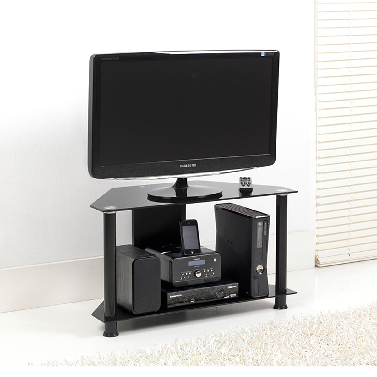 black glass 2 shelf corner lcd plasma tv stand 70cm holds. Black Bedroom Furniture Sets. Home Design Ideas