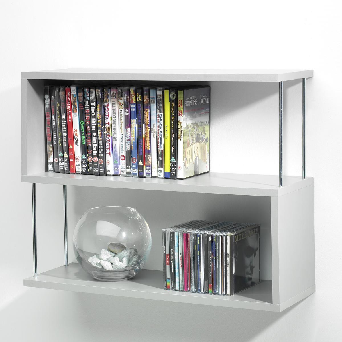 New silver wood chrome 3 panel bookshelf shelves wall for Hanging bookshelves