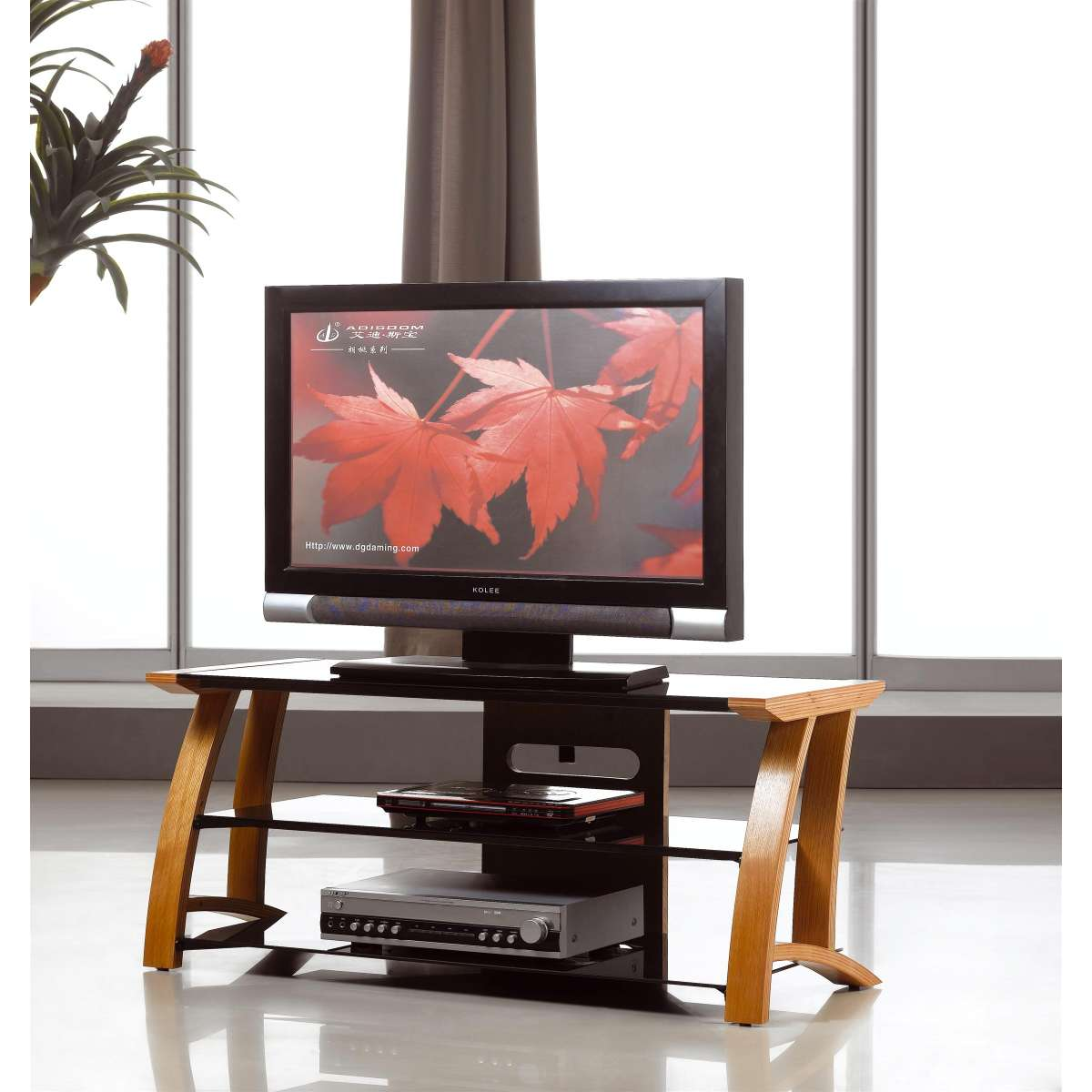 oak tv stand black glass shelves flat screen 32 42 ebay. Black Bedroom Furniture Sets. Home Design Ideas