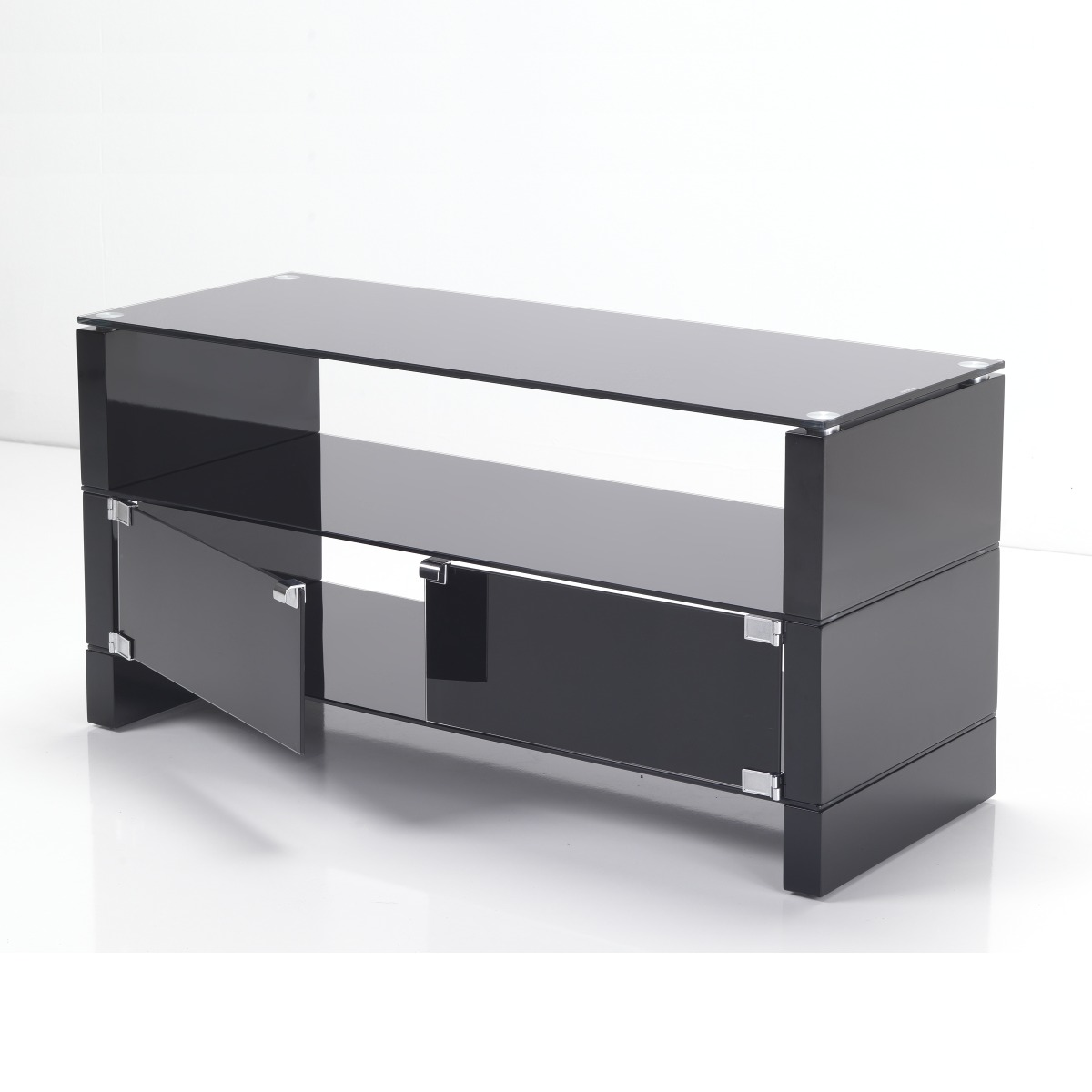 Black glass flat screen tv stand cabinets 32 40 inch ebay for Flat screen tv console cabinet