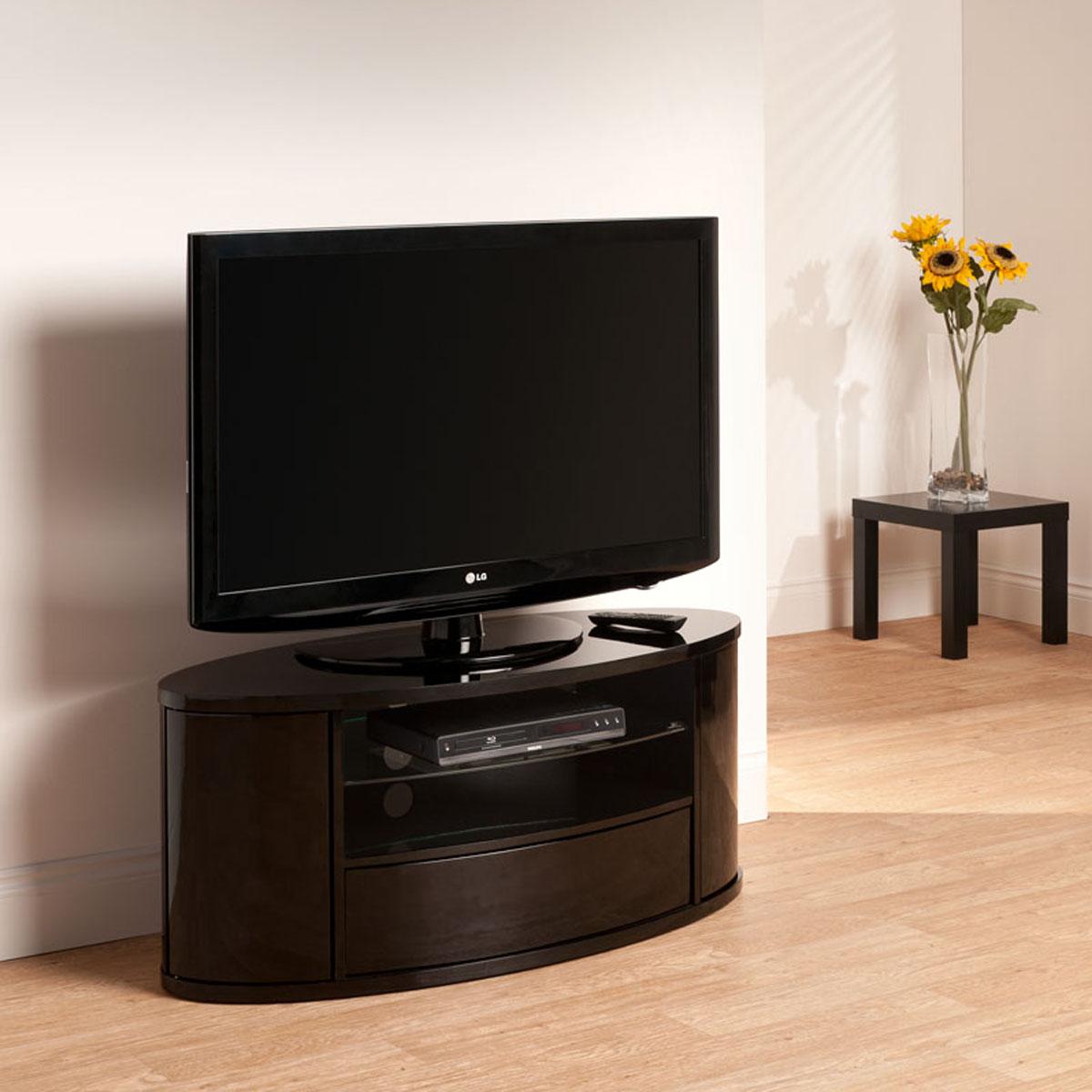 curved design black lcd plasma tv stand 40 50 inch screen ebay. Black Bedroom Furniture Sets. Home Design Ideas