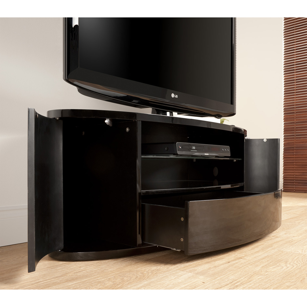 curved design black lcd plasma tv stand 40 50 inch screen ebay. Black Bedroom Furniture Sets. Home Design Ideas
