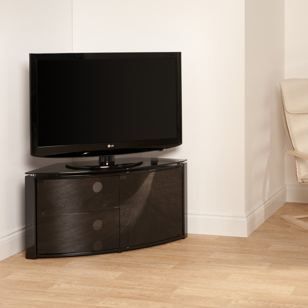 curved tv stand inc glass door 32 42 inch screen enlarged preview
