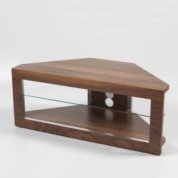 large flat screen lcd plasma glass door walnut veneer corner tv stand 40 inch ebay. Black Bedroom Furniture Sets. Home Design Ideas