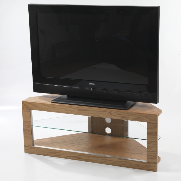 large flat screen oak tv corner stand glass shelf ebay. Black Bedroom Furniture Sets. Home Design Ideas