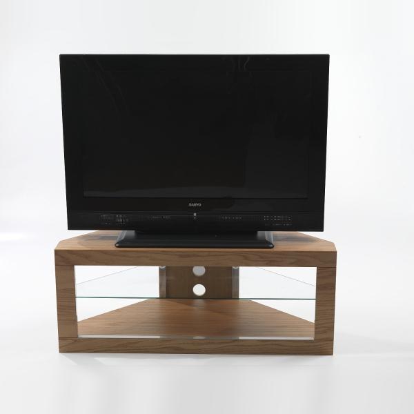 large flat screen oak tv corner stand glass shelf ebay. Black Bedroom Furniture Sets. Home Design Ideas