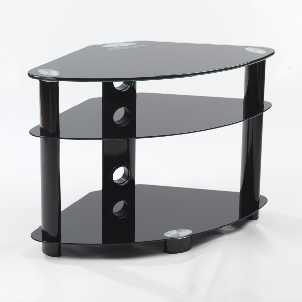 small three black glass shelf corner lcd plasma tv stand. Black Bedroom Furniture Sets. Home Design Ideas
