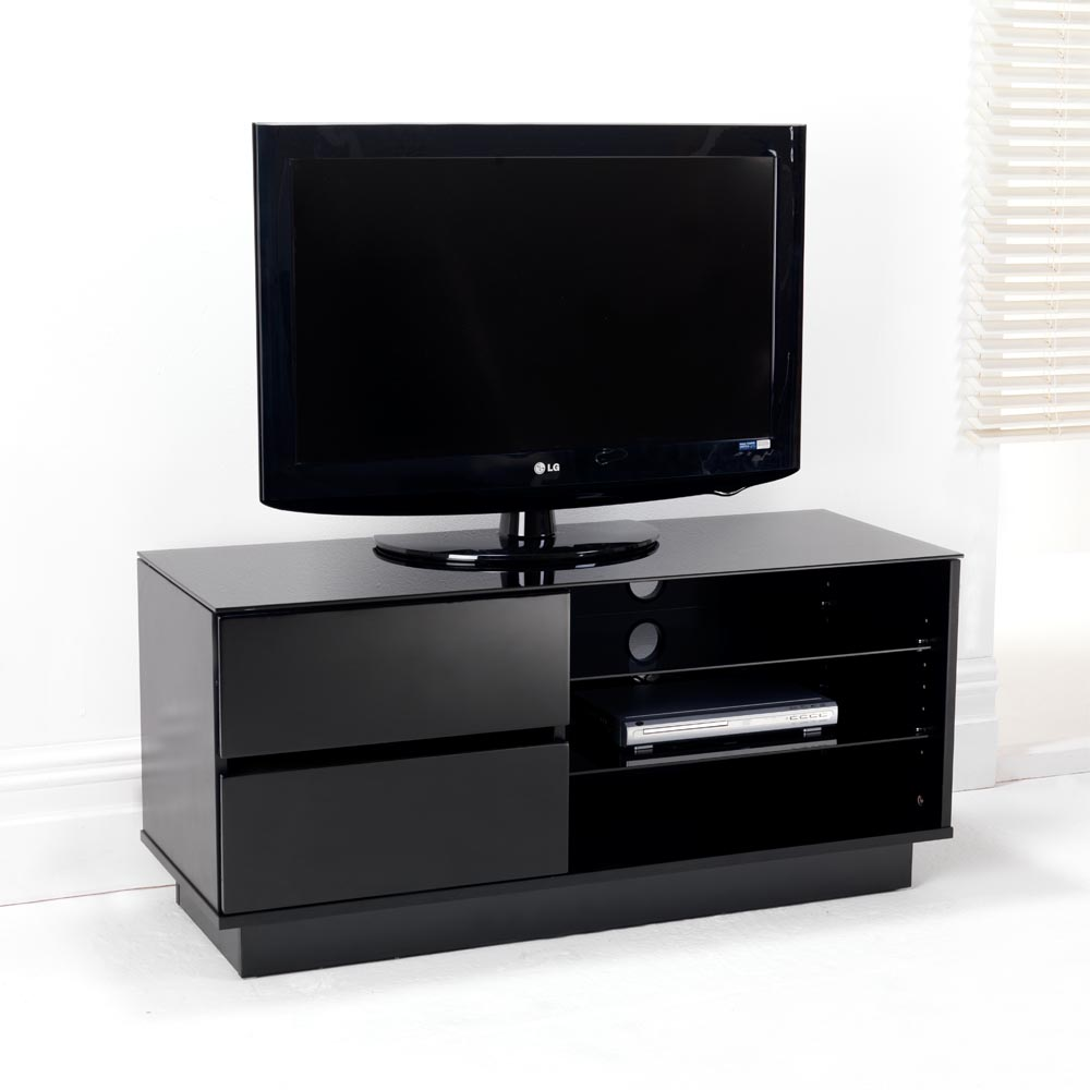 black gloss two drawer glass shelf lcd plasma tv stand cabinet holds 32 42 inch ebay. Black Bedroom Furniture Sets. Home Design Ideas