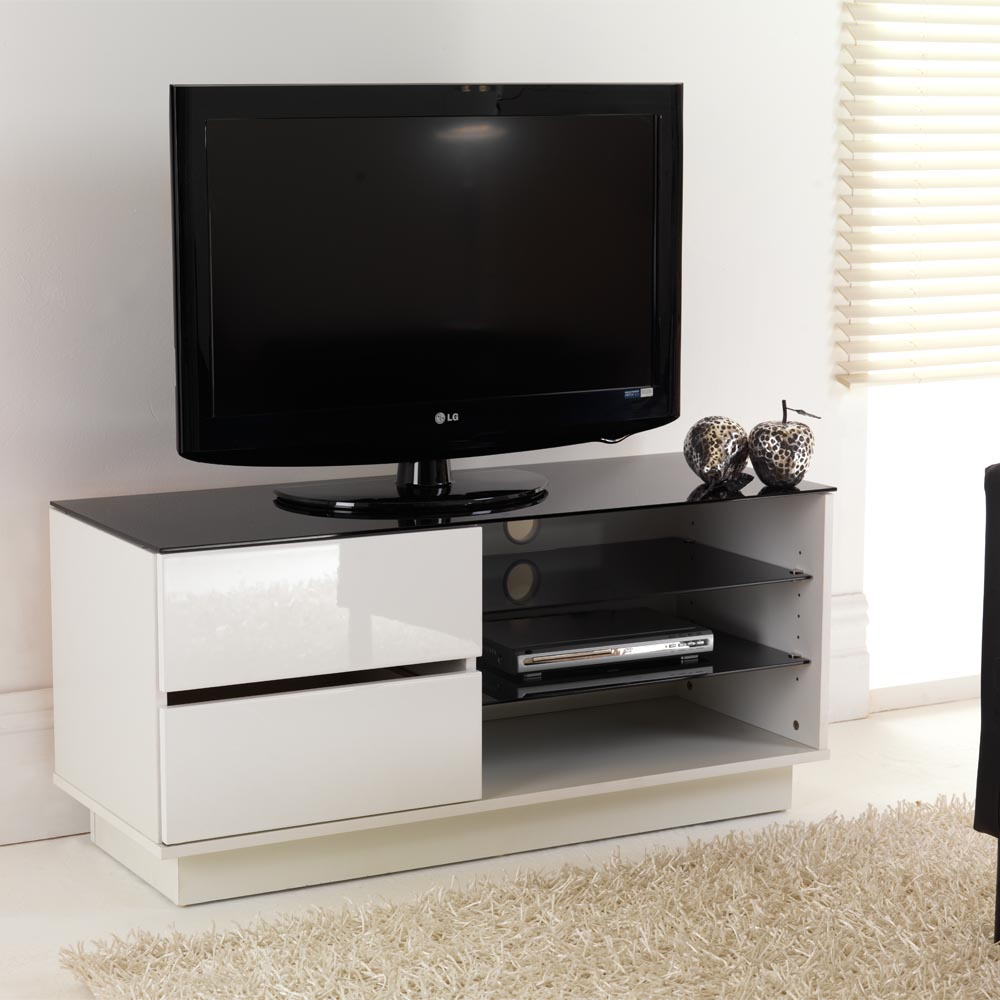 white gloss two drawer glass shelf lcd plasma tv stand. Black Bedroom Furniture Sets. Home Design Ideas