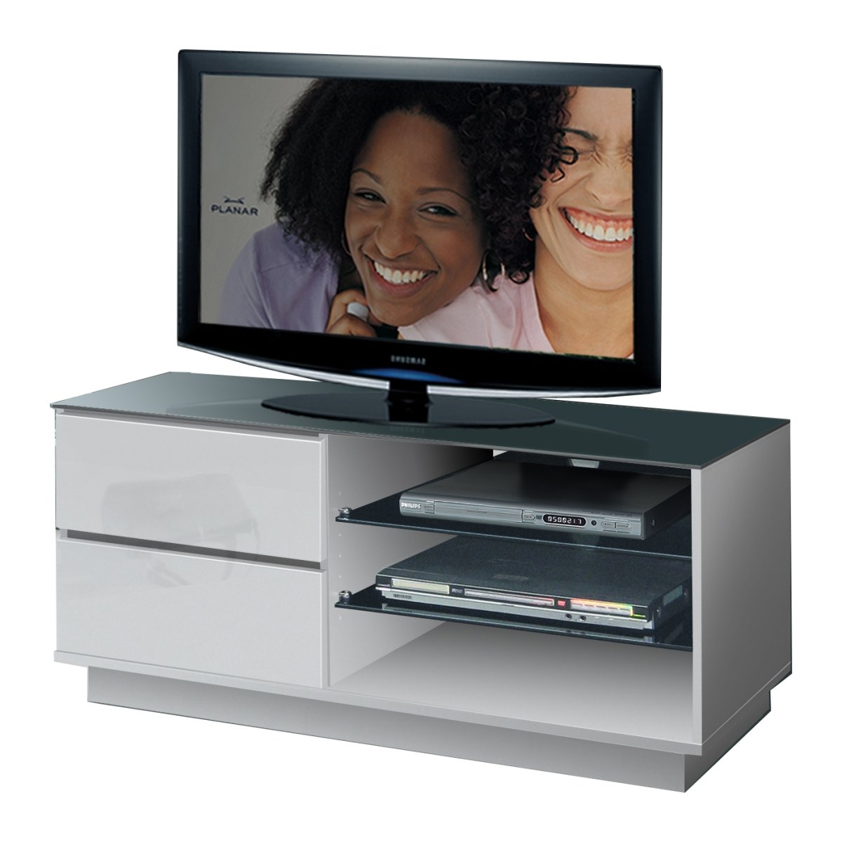 white tv stand black glass shelves drawers 32 42 ebay. Black Bedroom Furniture Sets. Home Design Ideas