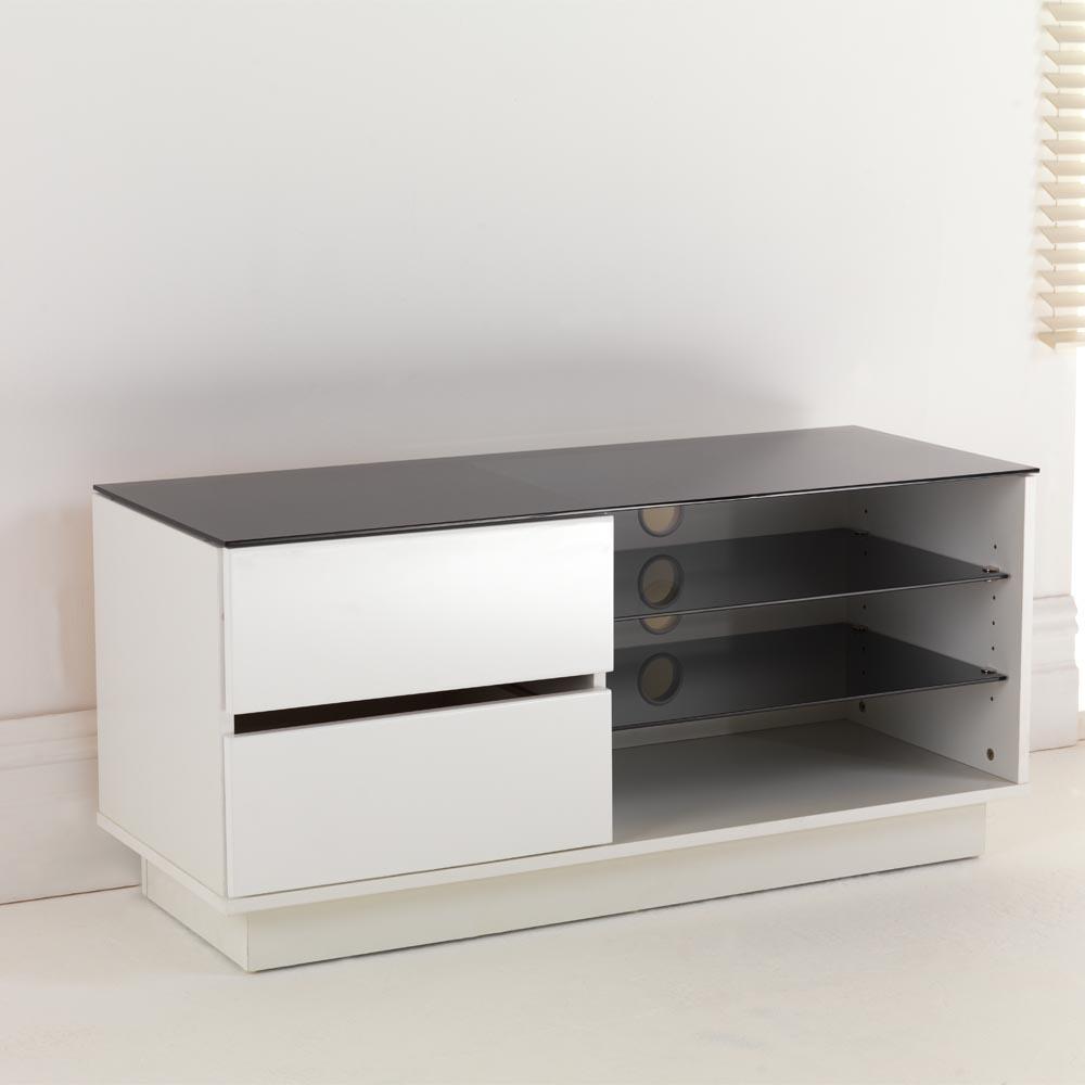 White Gloss Two Drawer Amp Glass Shelf Lcd Plasma Tv Stand