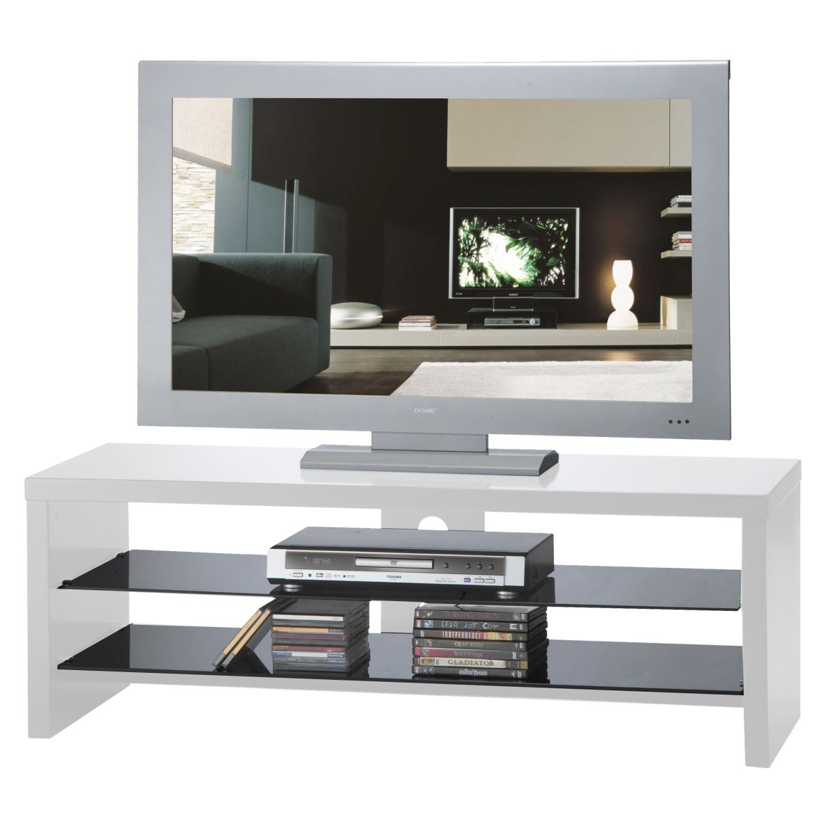 Gloss white dome tv stand flat screen 40 inch ebay for White plasma tv stands